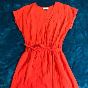 Bright Red Linen Wrap Dress